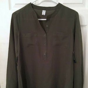 OLD NAVY ARMY OLIVE GREEN BLOUSE PETITE SMALL